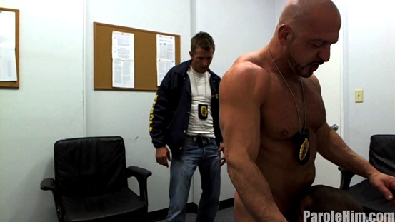 Parole Him Real US Parole Officers 06 Ripped Muscle Bodybuilder Strips Naked and Strokes His Big Hard Cock photo image1 - What some US Parole Officers get up to behind closed doors!