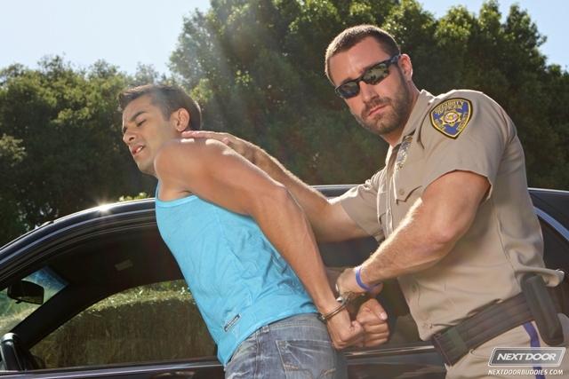Sexy gay cop Vinny Castillo fucks ass of Ray Diaz gay sex police car Next Door Buddies 01 photo - Sexy gay cop Vinny Castillo fucks ass of Ray Diaz in back of police car at Next Door Buddies