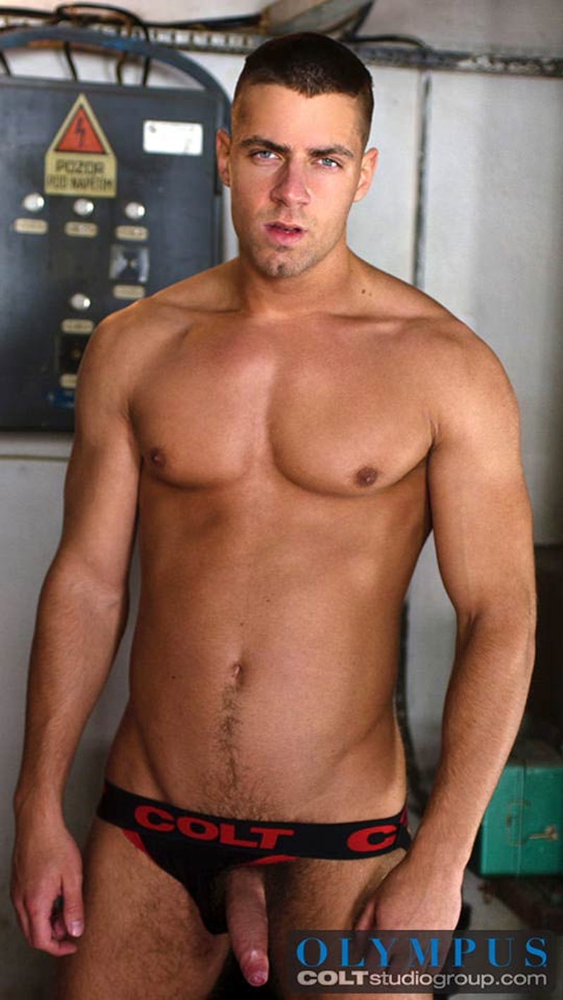 ColtStudios Hunky stud Lance Seawell fucks shirtless stud Arny Donan men kiss big uncut dick foreskin load spurting cum chest 003 gay porn video porno nude movies pics porn star sex photo - Arny Donan feeds Lance Seawell his hot and steamy load