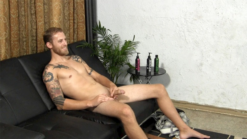 StraightFraternity Blonde straight bearded hunk Shawn shot physique strokes out thick cum load tattoos muscled stud massive dick 007 gay porn sex porno video pics gallery photo - Blonde straight bearded hunk jerks his first ever cumshot online