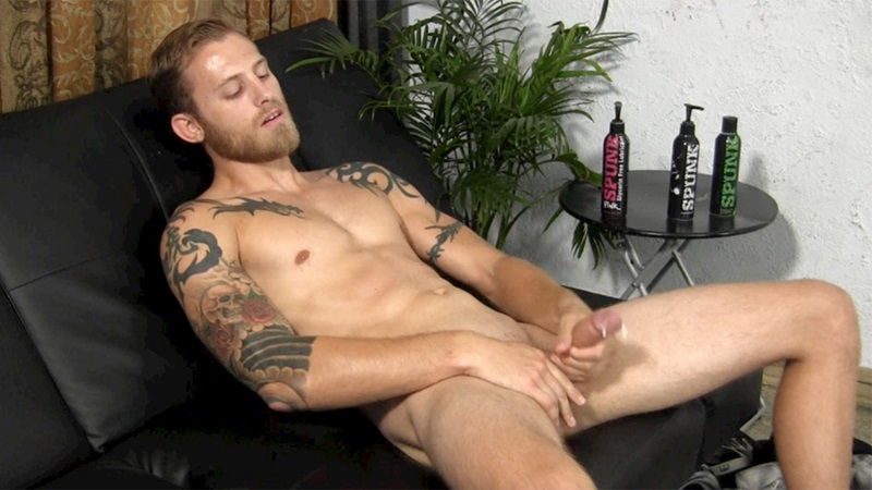 StraightFraternity Blonde straight bearded hunk Shawn shot physique strokes out thick cum load tattoos muscled stud massive dick 012 gay porn sex porno video pics gallery photo - Blonde straight bearded hunk jerks his first ever cumshot online