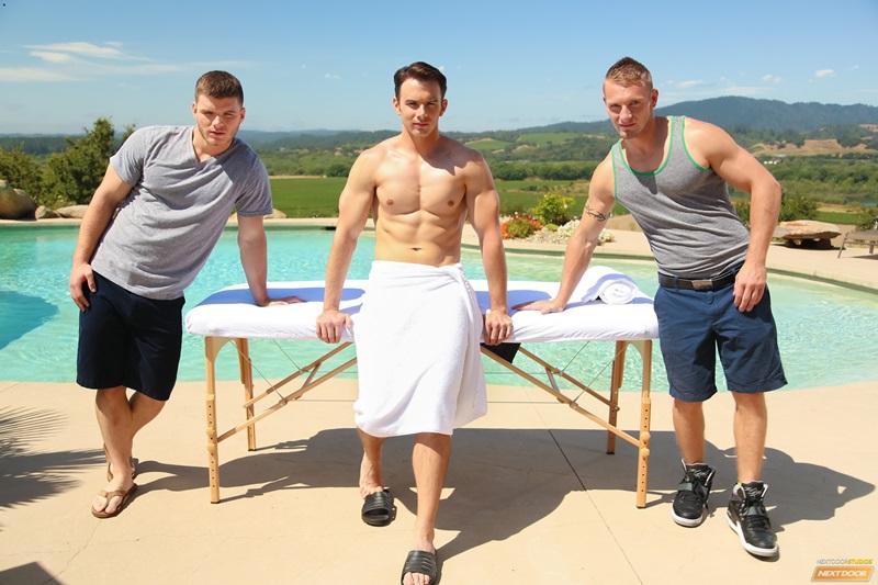 Hot trio massage Ivan James, Addison Graham and Jake Karhoff fucking hot