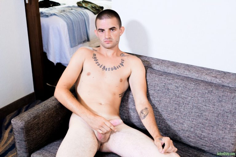 ActiveDuty shaved head tattoo Mikey shiny shorts big cut dick solo jerk off wanking smooth chest white boy big low hanging balls 001 gay porn sex gallery pics video photo 768x512 - Mikey takes his time fattening up his cock before any clothes come off