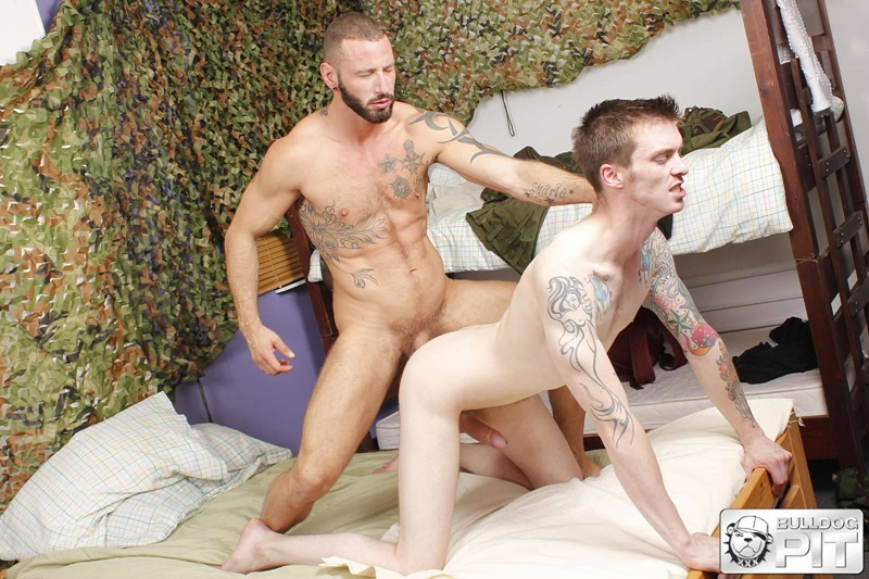 BulldogPit tattoo Handsome Scottish soldier AJ Alexander muscle man Antonio Miracle sweaty ass fucking big muscled dick fuck mate 001 gay porn sex gallery pics video photo - Antonio Miracle takes AJ Alexander's entire giant dick down to the balls