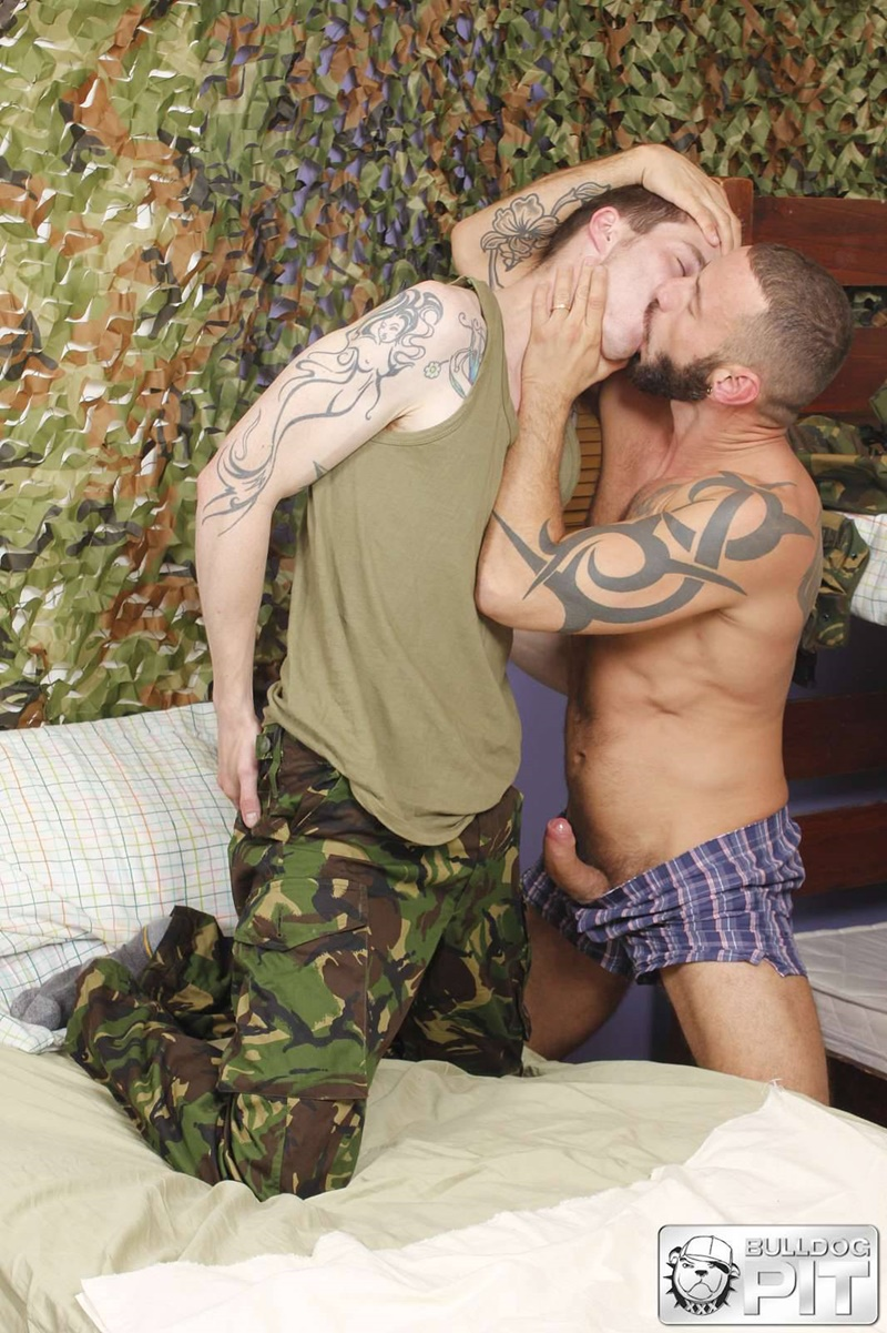 BulldogPit tattoo Handsome Scottish soldier AJ Alexander muscle man Antonio Miracle sweaty ass fucking big muscled dick fuck mate 002 gay porn sex gallery pics video photo - Antonio Miracle takes AJ Alexander's entire giant dick down to the balls