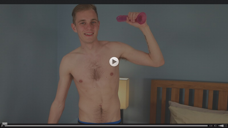 English Lads Luke McCormick probes his straight asshole with a big dildo