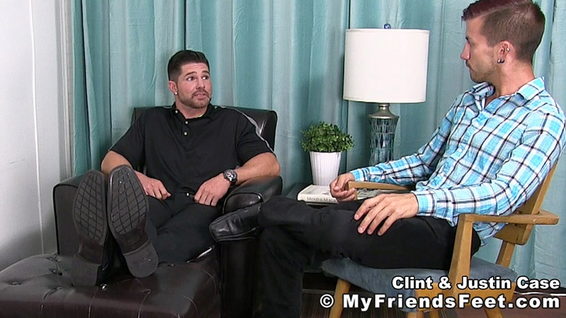 MyFriendsFeet foot fetish young guys socks Justin Case Clint bare foot worshiping huge size 13 shoes feet fetishist 002 gay porn sex gallery pics video photo - My Friends Feet Justin Case on his knees massaging and sniffing Clint's dress socked feet