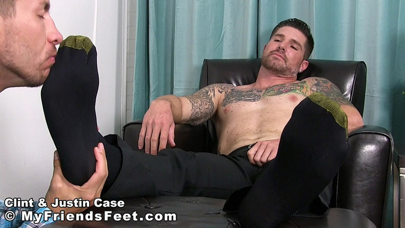 MyFriendsFeet foot fetish young guys socks Justin Case Clint bare foot worshiping huge size 13 shoes feet fetishist 005 gay porn sex gallery pics video photo - My Friends Feet Justin Case on his knees massaging and sniffing Clint's dress socked feet