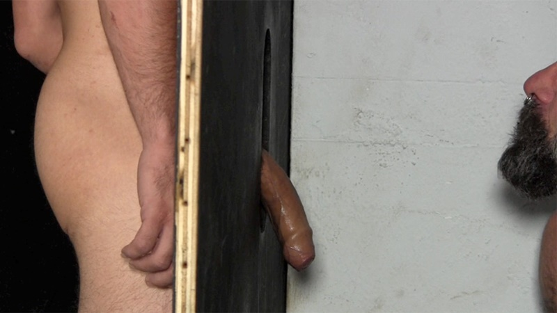 StraightFraternity Victor strips nude glory hole muscular body big thick long uncut dick cocksucking cock sucker young man sucked dry 014 gay porn sex gallery pics video photo - Victor moans loudly as he gets his veiny, uncut cock sucked dry