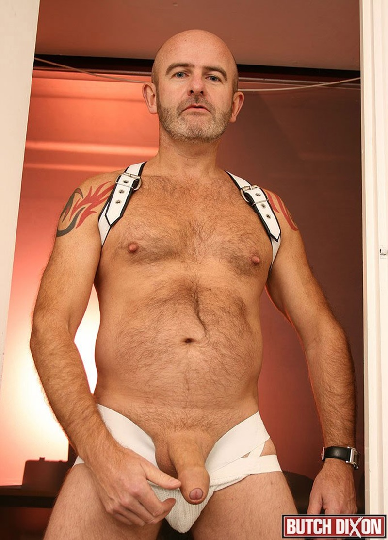 Daddy Oliver's foreskin stretches over the length of his thick uncut cock