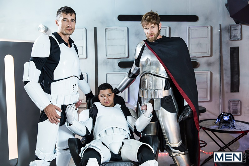 Super Troopers Colby Keller, Jay Roberts and Kaden Alexander hardcore ass fucking orgy in this Star Wars parody