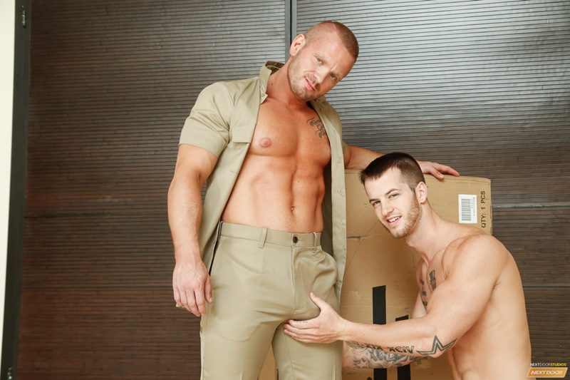 NextDoorBuddies sexy naked muscle dudes James Huntsman anal fucks Quentin Gainz big large cock tight ass hole cocksucking men kissing 005 gay porn sex gallery pics video photo - James Huntsman spins Quentin Gainz around and slaps his cock against his tight ass hole
