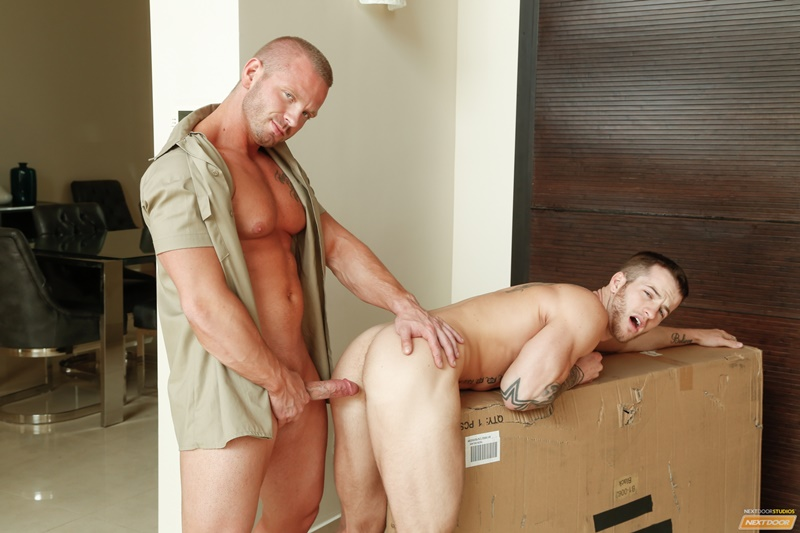 NextDoorBuddies sexy naked muscle dudes James Huntsman anal fucks Quentin Gainz big large cock tight ass hole cocksucking men kissing 008 gay porn sex gallery pics video photo - James Huntsman spins Quentin Gainz around and slaps his cock against his tight ass hole