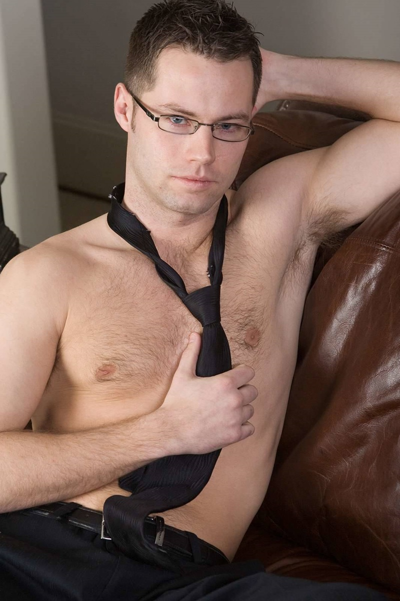 BulldogPit sexy young hairy chest glasses Luke loses underwear jerking big cut cock massive cum shot jizz explosion solo wank 005 gay porn sex gallery pics video photo - Luke loses his underwear as he starts to tug hard on his big cut cock