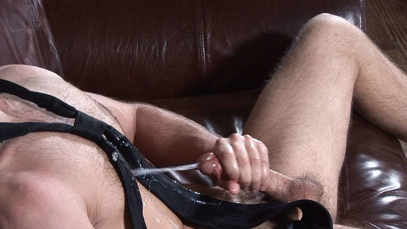 BulldogPit sexy young hairy chest glasses Luke loses underwear jerking big cut cock massive cum shot jizz explosion solo wank 017 gay porn sex gallery pics video photo - Luke loses his underwear as he starts to tug hard on his big cut cock