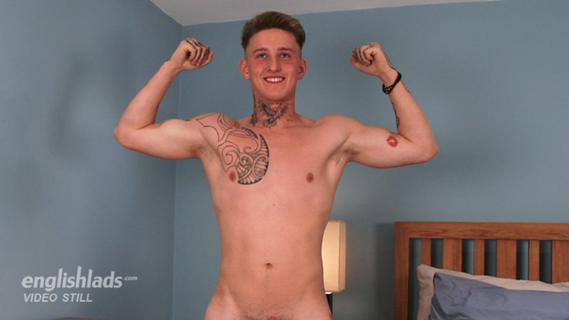 Young straight ripped muscle boy Lachlan Scott jerks his big uncut cock