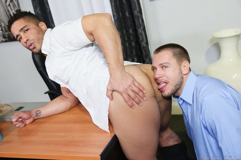 Trey Turner rims his ass then shoves his huge cock deep inside Hans Berlin's eager ass