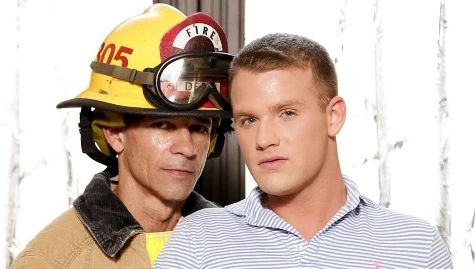 50497 01 01 - Older daddy fireman Rodney Steele saves blond baby boy Brandon Wilde in a frat house