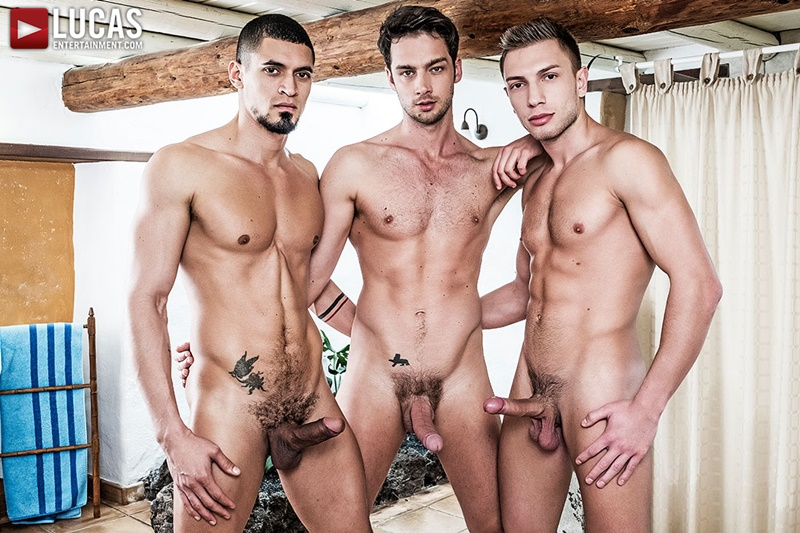 LucasEntertainment Ibrahim Moreno Bogdan Gromov double penetration fuck Damon Heart tight muscled ass spit roasting muscle butts 001 gay porn sex gallery pics video photo - Ibrahim Moreno and Bogdan Gromov double fuck Damon Heart tight muscled ass