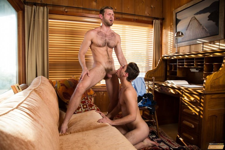 NextDoorBuddies gay porn hairy chest muscle hunk sex pics Jacob Peterson Michael Del Ray eat ass rimming anal 001 gallery video photo 768x512 - Jacob Peterson bends over the sofa for Michael Del Ray to eat his ass rimming his deep and hard