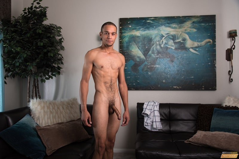 Hot sexy young stud Odin Strokes jerks his huge black dick to a massive cum orgasm