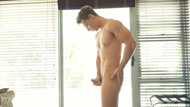 Freshmen gay porn blond smooth ripped nude young muscle hunk sex pics Dean Cooper jerks big thick uncut cock foreskin 012 gallery video photo - Gorgeous smooth ripped young muscle hunk Dean Cooper jerks his big thick uncut cock