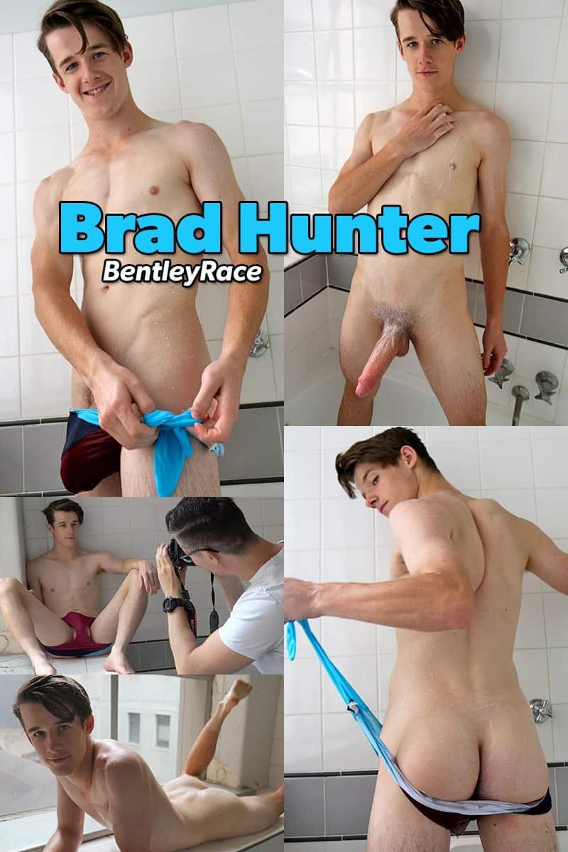 BentleyRace Young hottie Brad Hunter huge cock speedos swimwear male solo wank jerking 024 gallery video photo - Young hottie Brad Hunter's bulging cock is hanging very low in his speedos