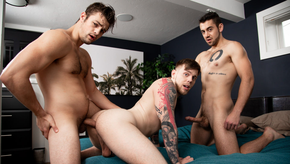 77645 01 01 - Stepbrothers Charlie Pattinson and Dante Colle target jogger Steve Rickz for their hardcore ass fucking threesome