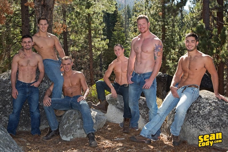 Hardcore gay sex orgy Tanner, Bryce, Coleman, David, Andy and Noel big dick anal fuckfest