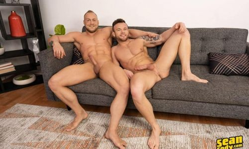 Brock spanks and rims Sean's hot asshole before bareback fucking him