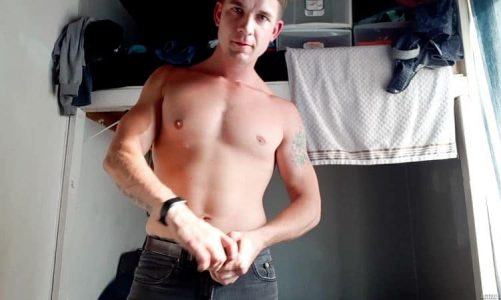 Sexy young horny stud Brandon Anderson strokes his huge dick at home