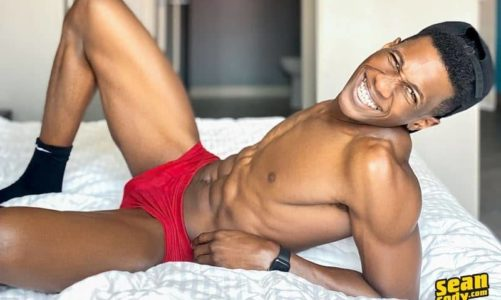 Hot ripped young muscle stud AJ Blackwood strips and jerks his big black dick to a massive orgasm