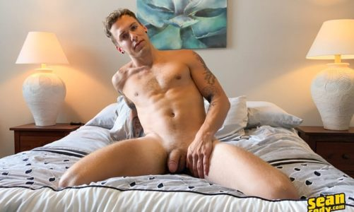 Sexy young tattooed muscle boy Bentley Bangz's strokes his big dick as he dildos his hot ass hole