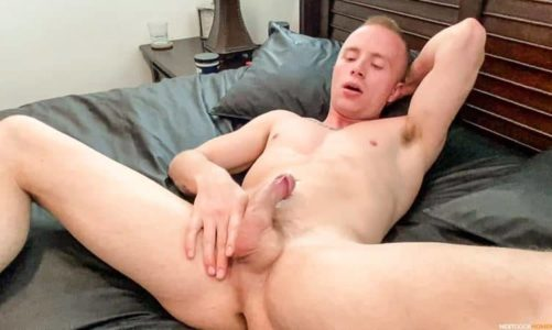 Hot newbie young stud Tanner Hyde hardcore dildo ass play stroking his huge uncut dick to a massive cum shot