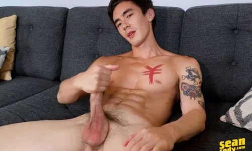 Hot versatile half Chinese bottom boy Cody Seiya strips naked jerking his big cut cock to a huge cumload