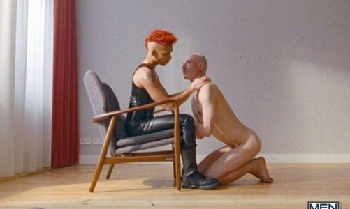 Super dominant top Commander Ares punishes his subordinate sub boy Roughkicks in latex straitjacket