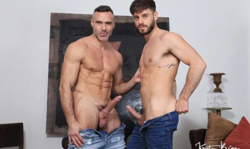 Older muscle dude Manuel Skye's huge raw uncut dick barebacking younger stud Manuel Reyes' tight bubble ass