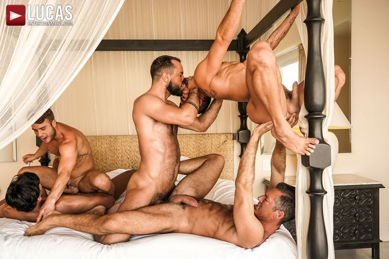 Hottie muscle studs Allen King Marco Antonio Silver Steele Sir Peter Valentin Amour bareback anal fucking Lucas Entertainment 004 gay porn pics - Hottie muscle studs Allen King, Marco Antonio, Silver Steele, Sir Peter and Valentin Amour bareback anal fucking at Lucas Entertainment