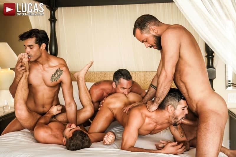 Hottie muscle studs Allen King Marco Antonio Silver Steele Sir Peter Valentin Amour bareback anal fucking Lucas Entertainment 006 gay porn pics - Hottie muscle studs Allen King, Marco Antonio, Silver Steele, Sir Peter and Valentin Amour bareback anal fucking at Lucas Entertainment