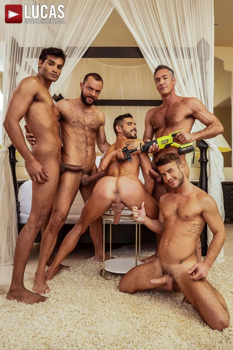 Hottie muscle studs Allen King Marco Antonio Silver Steele Sir Peter Valentin Amour bareback anal fucking Lucas Entertainment 007 gay porn pics - Hottie muscle studs Allen King, Marco Antonio, Silver Steele, Sir Peter and Valentin Amour bareback anal fucking at Lucas Entertainment
