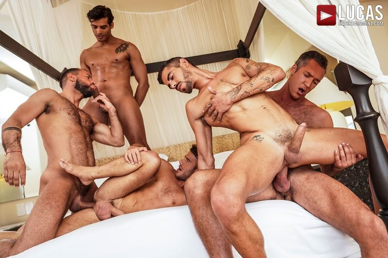 Hottie muscle studs Allen King Marco Antonio Silver Steele Sir Peter Valentin Amour bareback anal fucking Lucas Entertainment 012 gay porn pics - Hottie muscle studs Allen King, Marco Antonio, Silver Steele, Sir Peter and Valentin Amour bareback anal fucking at Lucas Entertainment