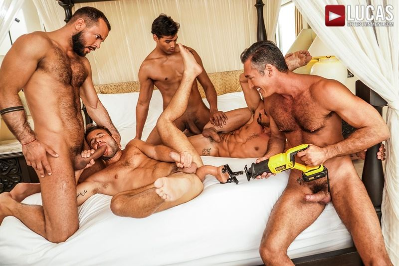 Hottie muscle studs Allen King Marco Antonio Silver Steele Sir Peter Valentin Amour bareback anal fucking Lucas Entertainment 015 gay porn pics - Hottie muscle studs Allen King, Marco Antonio, Silver Steele, Sir Peter and Valentin Amour bareback anal fucking at Lucas Entertainment