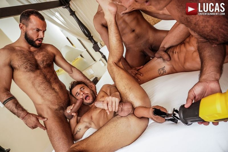 Hottie muscle studs Allen King Marco Antonio Silver Steele Sir Peter Valentin Amour bareback anal fucking Lucas Entertainment 016 gay porn pics - Hottie muscle studs Allen King, Marco Antonio, Silver Steele, Sir Peter and Valentin Amour bareback anal fucking at Lucas Entertainment