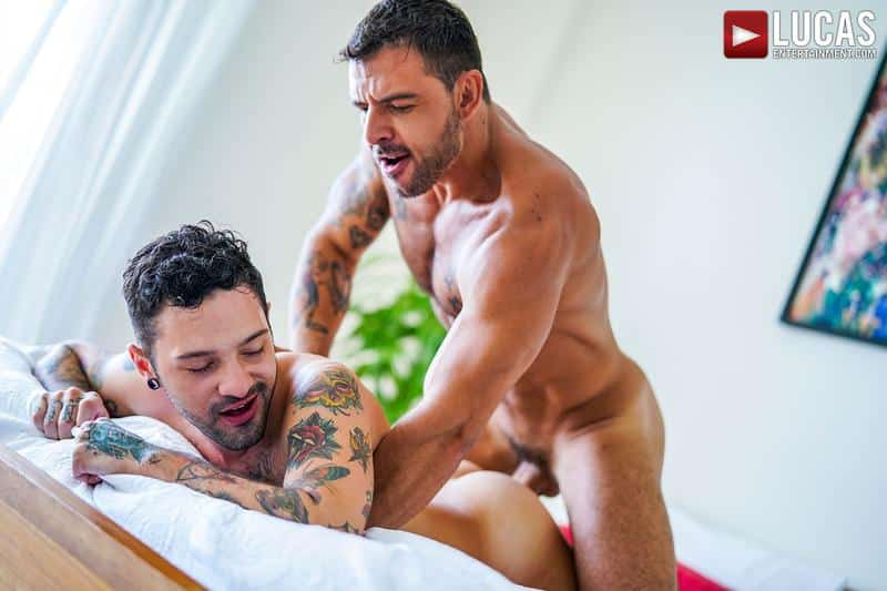 Horny muscled hunk Rudy Gram huge uncut dick raw fuck younger muscle boy Igor Lucios Lucas Entertainment 39 gay porn image - Horny muscled hunk Rudy Gram's huge uncut dick raw fuck younger muscle boy Igor Lucios at Lucas Entertainment