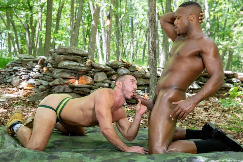 Raging Stallion sexy hairy chested stud Grant Ryan asshole bare fucked black hunk Andre Donovan 0 gay porn image - Raging Stallion sexy hairy chested stud Grant Ryan's asshole bare fucked by black hunk Andre Donovan