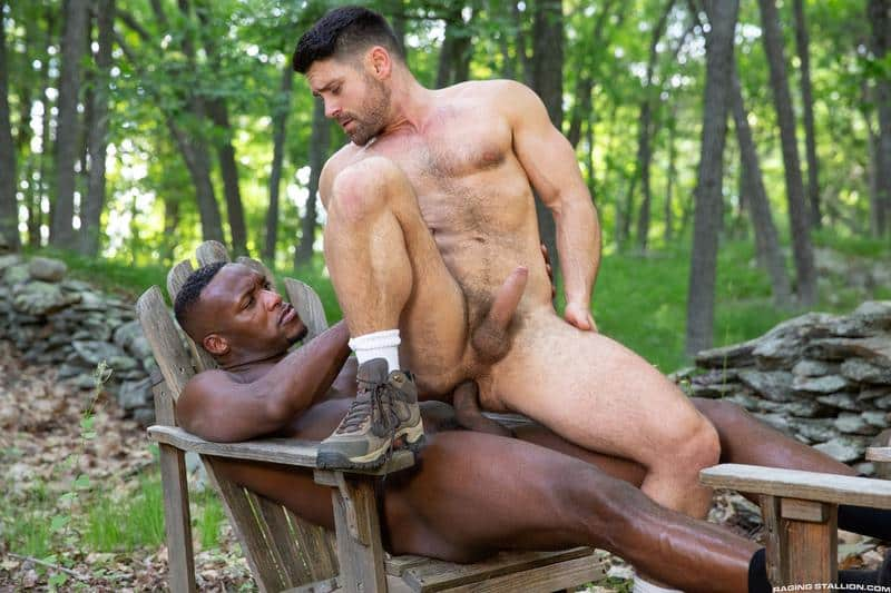 Raging Stallion sexy hairy stud Beau Butler hot ass fucked black muscle man Andre Donovan 12 gay porn image - Raging Stallion sexy hairy stud Beau Butler's hot ass fucked by black muscle man Andre Donovan