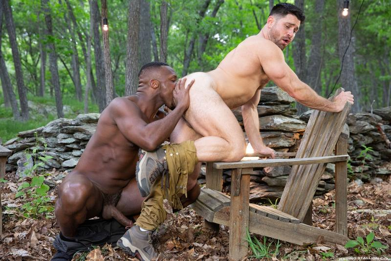 Raging Stallion sexy hairy stud Beau Butler hot ass fucked black muscle man Andre Donovan 9 gay porn image - Raging Stallion sexy hairy stud Beau Butler's hot ass fucked by black muscle man Andre Donovan