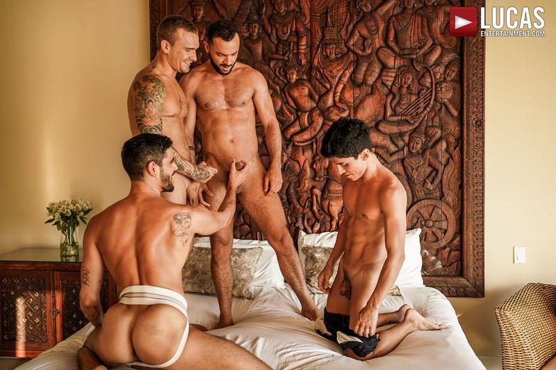 Horny muscle hunks Sir Peter Isaac X spit roast Valentin Amour lover Joaquin Santana watches Lucas Entertainment 12 gay porn image - Horny muscle hunks Sir Peter and Isaac X spit-roast Valentin Amour as lover Joaquin Santana watches at Lucas Entertainment