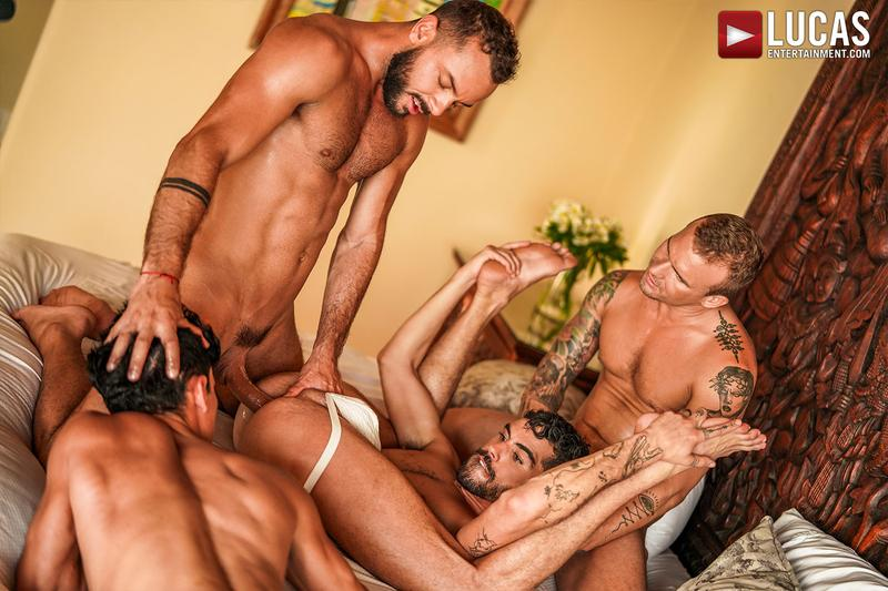 Horny muscle hunks Sir Peter Isaac X spit roast Valentin Amour lover Joaquin Santana watches Lucas Entertainment 17 gay porn image - Horny muscle hunks Sir Peter and Isaac X spit-roast Valentin Amour as lover Joaquin Santana watches at Lucas Entertainment