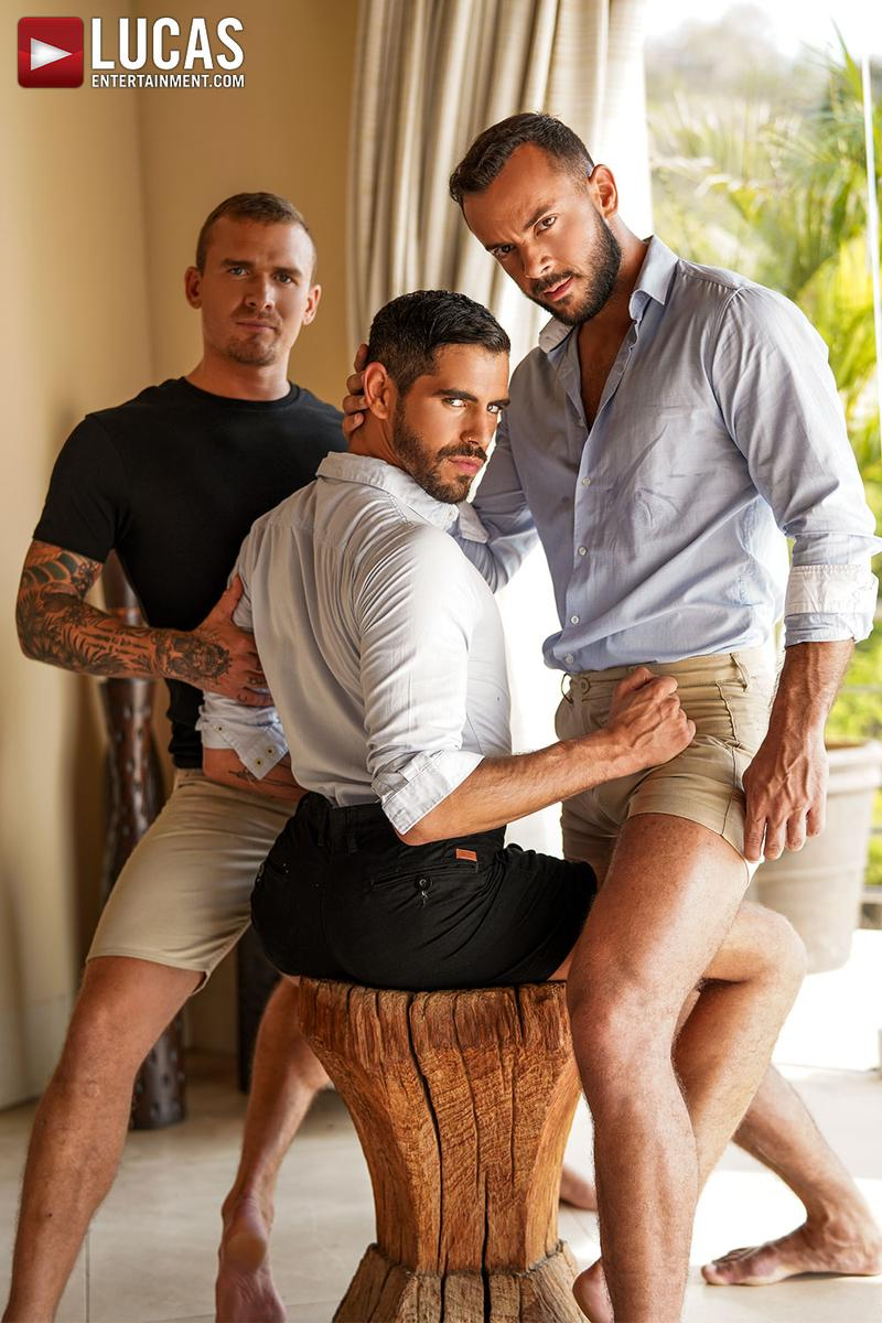Horny muscle hunks Sir Peter Isaac X spit roast Valentin Amour lover Joaquin Santana watches Lucas Entertainment 2 gay porn image - Horny muscle hunks Sir Peter and Isaac X spit-roast Valentin Amour as lover Joaquin Santana watches at Lucas Entertainment